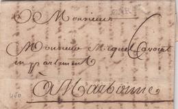 LETTRE. 13 AVRIL 1785. CAR NE A SEC. Mr AMALRIC CARCASSONE POUR Mr MIQUEL AVOCAT EN APPARTEMENT A NARBONNE - Storia Postale