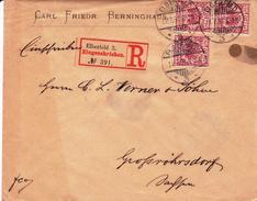 Lettre Recommandée Allemagne 1891 Elberfeld Carl Friedrich Berninghaus Eingeschrieben Großröhrsdorf - Lettres & Documents