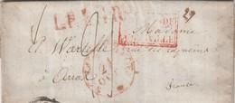 LETTRE. 21 OCTOBRE. ENTREE HOLLANDE PAR THIONVILLE. LPB 4R. POUR ARRAS. PERIPLE AMSTERDAM LA HAYE ROTTERDAM DUNKERKE BRU - Postmark Collection (Covers)