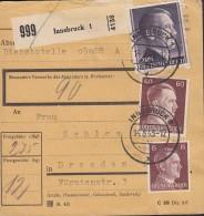 DR  789, 797, 800 A MiF Auf Paketkarte, Gestempelt In ÖSTERREICH: Innsbruck 14.8.1943 - Briefe U. Dokumente