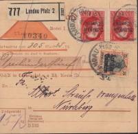 INFLA BAYERN  2x 130 II A,  143 MiF, Geprüft, Auf Nachnahme-Paketkarte, Gestempelt: Landau 15.JAN 1920 - Germany