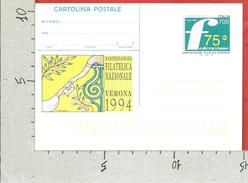 ITALIA REPUBBLICA CARTOLINA POSTALE MNH - 1994 - Verona 1994 - £ 700 - C229 - 6. 1946-.. Repubblica