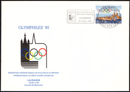"SWITZERLAND LAUSANNE 1985 - WORLD SPORT OLYMPIC PHILATELIC EXHIBITION ""OLYMPHILEX '85"" - OFFICIAL ENVELOPE - Summer 1988: Seoul"