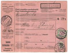 FINLANDIA - Finland - 1927 - Postiennakko-Osoitekortti - Adresskort Paket Packet Freight Bill Card - Viaggiata Da Tamper - Finland