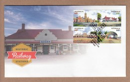 Australia FDC Historic Railway Stations - Block 4 Sheet Stamps - No Year Date On Postmark