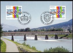Switzerland With Liechtenstein 1995 / Rhine Bridge, Rheinbrücke Vaduz - Sevelen / MC Maximum Card / Joint Issue - Ponti