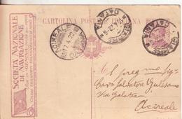 4A-47-Intero Postale Pubblicitario: Società Nazionale Di Navigazione-v.1922 Da Giarre Ad Acireale-Catania
