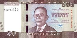 LIBERIA 20 DOLLARS 2016 P-33a UNC [LR313a] - Liberia