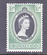 MALTA  241   *  Q E II  CORONATION  1953 - Malta (...-1964)