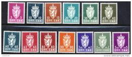 NORWAY 1958-73 Official Set On Phosphor Paper MNH / **.  Michel Dienst 68y-90y - Officials