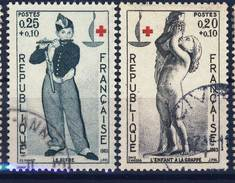 1400 + 1401 CROIX ROUGE  OBLITERE ANNEE 1963