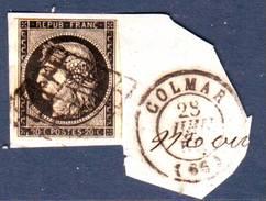 20c NOIR N° 3 TTB Obl Grille Cachet COLMAR 28 Juin 1850 Sur Fragment De Lettre ,  Haut Rhin