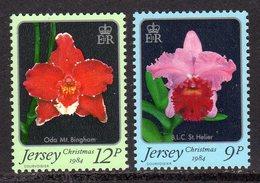 GB JERSEY - 1984 CHRISTMAS ORCHIDS SET (2V) SG 350-351 FINE MNH **