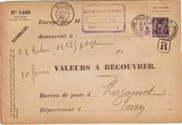 25c Sage Obl SALON Bouches Du Rhone 1899 Sur Devant De VALEURS A RECOUVRER RECOMMANDE Pour Mazamet
