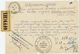 ALLIER 1939 TELEGRAMME OFFICIEL ENTETE GARE GPT MOULINS A INTENDENCE MILITAIRE STATION MAGASIN CHALON SUR SAONE TXT SUR