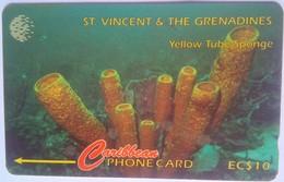 St Vincent Phonecard EC$10 Yellow Tube Sponge 52CSVF - St. Vincent & The Grenadines