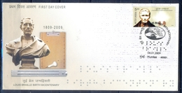C211- India 2009. Louis Braille. Embossed Script For Visual Handicap. Disabled. Health. Hand. - Covers & Documents