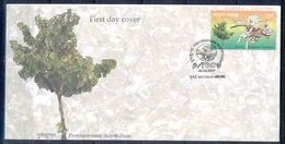 C212- India 2009. Pterospermum Acerifolium, Karnikara Tree, Flower, Ulcers, Blood Disese, Tumor. - India