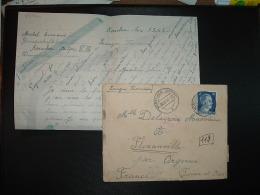 LETTRE TP 25 OBL.08 8 44 KORSCHEN + Gemeinschaftslager (B) Korschen Drengfurter Chaussee + CENSURE  + VERIFICATION ENCRE - Marcophilie (Lettres)