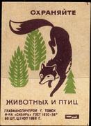 MATCH BOX LABELS-FOREIGN LABELS-WILD LIFE-ANIMALS-FOX-SCARCE-MB-171 - Zündholzschachteletiketten
