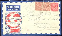 1934 Flight Cover England Waddon Croydon Surrey To Geneva Switzerland - 1902-1951 (Kings)
