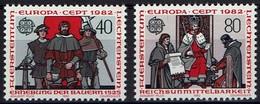 Liechtenstein 1982 - MiNr 791-792 - EUROPA - Jörg Pargant, Graf Hartmann Und Graf Heinrich Bei König Wenzeslaus - Europa-CEPT