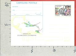 ITALIA REPUBBLICA CARTOLINA POSTALE MNH - 1992 - Celebrazioni Colombiane - Terzo Viaggio - £ 700 - C224 - 6. 1946-.. Repubblica