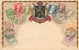 Sur Carte Postale - Timbres De Léopold II Grosse Barbe - Belgique