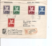 Pays-Bas ( Lettre Recommandée De 1946 En Premier Jour De Enschede  Vers Malte à Voir) - FDC