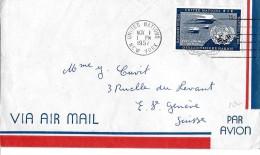 32491 - Enveloppe Envoyée United Nations New York à Genève 1957 - New-York - Siège De L'ONU
