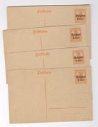 Postkarte Deutsches Reich Belgien Affranchissement 7 1/2 Surcharge 8 Cent. 4 Exemplaires Entier Postal Postwaardestuk - Vieux Papiers