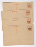 Postkarte Deutsches Reich Belgien Affranchissement 7 1/2 Surcharge 8 Cent. 4 Exemplaires Entier Postal Postwaardestuk - Vecchi Documenti