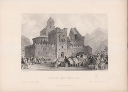 Vers 1840 - Gravure Sur Acier - Luz-Saint-Sauveur (Hautes-Pyrénées) - L'église Des Templiers - FRANCO DE PORT - Estampes & Gravures