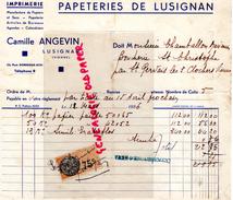 86- LUSIGNAN-FACTURE PAPETERIES DU LUSIGNAN- IMPRIMERIE CAMILLE ANGEVIN- PAPETERIE -1936-CHAMBALLON MAXIMIN ST GERVAIS - Imprimerie & Papeterie