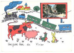 Cpsm Une Grosse Bise Du Vivier ( Fantaisie Train, Vache, Cochon, Coq, Lapin ) - France