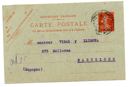 Entero Postal  De Francia Circulado 1910. - Enteros Postales