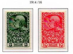 PIA - AUS - 1914 : Sovrattassa A Favore Delle Opere Di Guerra - Imperatore Francesco Giuseppe I°  - (Yv 136-37) - 1850-1918 Impero