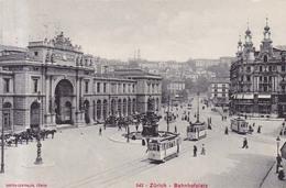 Zurich Bahnhofplatz  Tram Tranvias  1918 - ZH Zurich