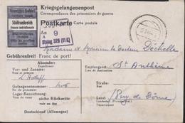 Camp De Représailles 326 Ou Disciplinaire Stalag  VI K Censure Gepruft 9 Stalag 326 1944 Forellkuug über Paderborn FM - Briefe U. Dokumente