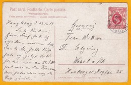 1909 - CP De Victoria, Hong Kong, Chine, GB Vers Wesel, Allemagne - Timbre 4 C Edward VII Seul - Vue : Femme Chinoise - Hong Kong (...-1997)