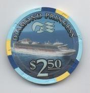 Jeton De Casino Sur Mer : Princess Cruises : Diamond Princess $ 2.50 - Casino