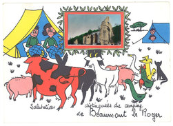 Cpsm Salutations Distinguées Du Camping De Beaumont Le Roger ( Fantaisie Vache, Cochon, Coq, Chèvre, Chat Noir ) - Beaumont-le-Roger
