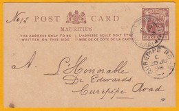 1898 - Entier CP De Rivière Des Anguilles Vers Curepipe Road - 2  Cents Armoiries - Relevés Pluviométriques Maurice - Mauritius (...-1967)