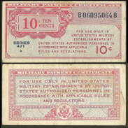 US Military Currency Series 471 10 Cent MPC Sn064 VF- - Military Payment Certificates (1946-1973)