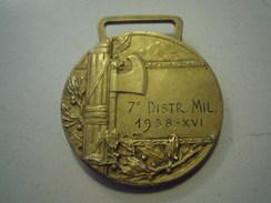"""RARA MEDAGLIA FASCISTA """" 7° DISTRETTO MILITARE 1938 ANNO XVI """" ARGENTO 800 - REGIO ESERCITO - Italien"""