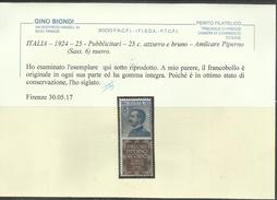 ITALIA REGNO ITALY KINGDOM 1924 1925 PUBBLICITARI PIPERNO CENT. 25c MNH CERTIFICATO - 1900-44 Vittorio Emanuele III