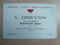 CARTE DE VISITE V DREVON HOTEL BOURGOIN 38 - Visitekaartjes