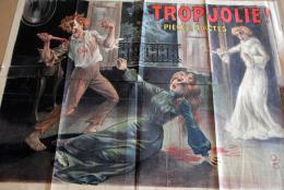 RARE AFFICHE ANCIENNE VERS 1900 THEATRE TROP JOLIE AVEC TIMBRE FISCAL OLD POSTER - Affiches