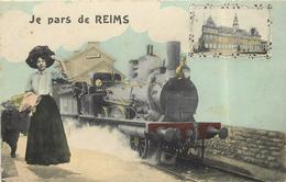 REIMS -   Je Pars De Reims, Carte Fantaisie, Gare. - Reims