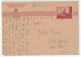 Croatia WWII, NDH Postal Stationery Postcard Dopisnica Travelled 1943 Dubica To Velika Gorica B170530 - Croatie